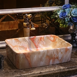 BathSelect European Style Rectangular Shaped Deck Mount Marble Sink With Freestanding Vintage Faucet.