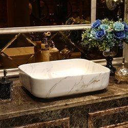 BathSelect European Style Rectangular Shaped Deck Mount White Marble Sink With Freestanding Vintage Faucet.
