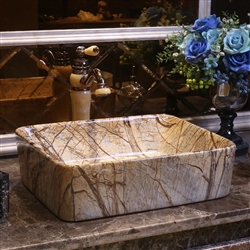 BathSelect European Style Rectangular Shaped Deck Mount Brown Marble Sink With Freestanding Vintage Faucet.