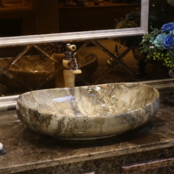 BathSelect European Style Boat Shaped Deck Mount Stone Grey Marble Sink With Freestanding Vintage Faucet