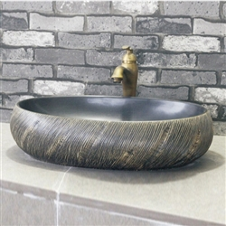 BathSelect Greenville Round Shaped Deck Mount Ceramic Bathroom Vessel Sink In Black Finish
