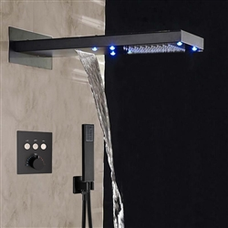 BathSelect Solid Brass Multi Color LED Rain And Waterfall Shower Head With Thermostatic Mixer Valve And Handheld Shower In Dark Oil Rubbed Finish