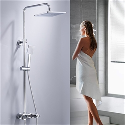 BathSelect Digital Shower Set With Rainfall Shower Head And Three Way Function Switching With Temperature Display In Chrome Finish