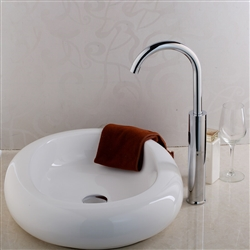 BathSelect Disc Shaped Ceramic Deck Mount Sink With Goose Neck Faucet In Chrome Finish Faucet