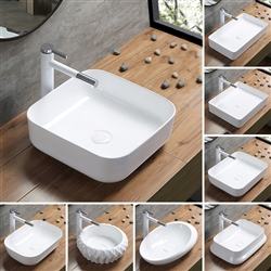 BathSelect Square Shaped Ceramic Deck Mount Sink In Pure White Finish