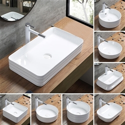 BathSelect Square Shaped Ceramic Deck Mount Sink With Horizontal Lines Over It In Pure White Finish