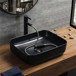 BathSelect Rectangle Shaped Ceramic Deck Mount Sink In Dark Oil Rubbed Bronze Finish