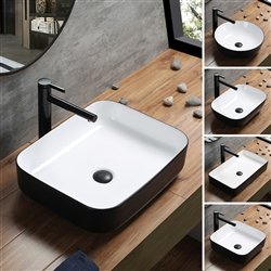 BathSelect Rectangle Shaped Ceramic Deck Mount Sink In Pure White Finish Inside And Dark Oil Rubbed Bronze Finish Outside