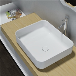 BathSelect Rectangle Shaped Ceramic Deck Mount Sink In Pure White Finish