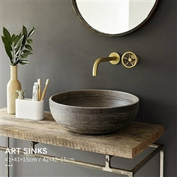 BathSelect Greenville Round Shaped Deck Mount Ceramic Vessel Sink In Stone Wooden Finish With Smooth Inner Surface