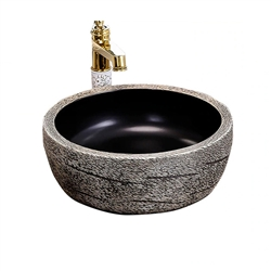 BathSelect Greenville Round Shaped Deck Mount Ceramic Vessel Sink In Stone Grey Finish With Smooth Inner Surface