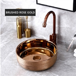 BathSelect Solid Brass Round Shaped Deck Mount Antique Sink In Rose Gold Finish