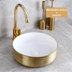 BathSelect Round Shaped Deck Mount Ceramic Sink In Brushed Gold And White Finish