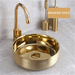 BathSelect Solid Brass Round Shaped Deck Mount Antique Sink In Brushed Gold Finish