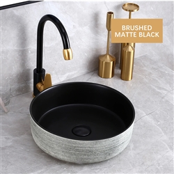 BathSelect Round Shaped Deck Mount Ceramic Sink In Brushed Chrome And Matte Black Finish