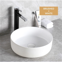 BathSelect Round Shaped Deck Mount Ceramic Sink In Pure White Finish