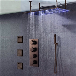 BathSelect Solid Brass Multi Color LED Rainfall Shower Head With Handheld Shower And Thermostatic Mixer In Light Oil Rubbed Bronze Finish
