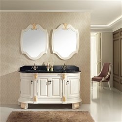 BathSelect Venice White Wooden Double Vanity Set With Granite Top And Dropped In Sink