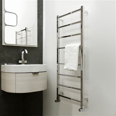 BathSelect Stainless Steel 8 Bar Wall Mount Electric Towel Warmer In Chrome Finish