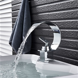 BathSelect Deck Mount Waterfall Style Faucet With Curved Spout And Water Mixer