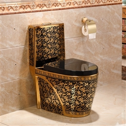 Lavatory in black and gold floral design