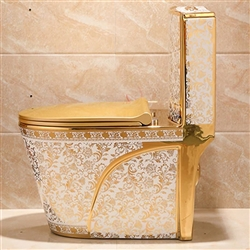 Lavatory in white and gold floral design