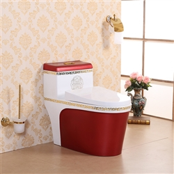 Vermont European Style Floor Mounted Lavatory in Ceramic White and Red Finish with Gold Lining Design