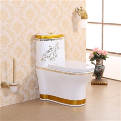 Vermont European Style Floor Mounted Lavatory in Ceramic White and Gold Lining Finish