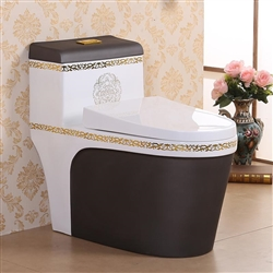 Vermont European Style Floor Mounted Lavatory in Ceramic White and Black Finish