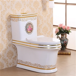 Vermont European Style Floor Mounted Lavatory in Ceramic White and Gold Finish with Flower Design