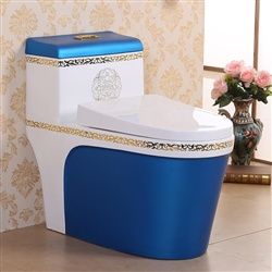 Vermont European Style Floor Mounted Lavatory in Ceramic White and Blue Finish with Gold Lining Design