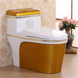 Vermont European Style Floor Mounted Lavatory in Ceramic White and Gold Finish with Gold Lining Design