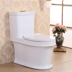 Vermont European Style Floor Mounted Lavatory in Ceramic White Finish with 2-Piece Slow Close Seat Lid
