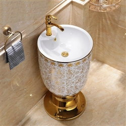 Pedestal Round Sink With Faucet