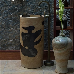 Greenville Freestanding Pedestal Cylinder Ceramic Wash Bathroom Sink with Faucet in Brown Finish with Painted Design