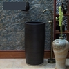 Greenville Freestanding Pedestal Cylinder Ceramic Wash Bathroom Sink with Faucet in Black Finish