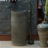 Greenville Freestanding Pedestal Cylinder Ceramic Wash Bathroom Sink with Faucet in Gray Stone Finish
