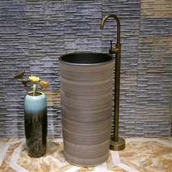 Greenville Freestanding Pedestal Cylinder Ceramic Wash Bathroom Sink with Faucet in Smooth Wood Stripe Finish