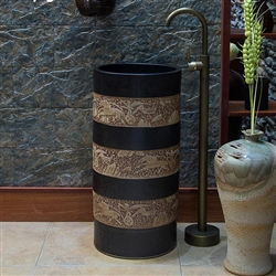 Greenville Freestanding Pedestal Cylinder Ceramic Wash Bathroom Sink with Faucet in Black and Brown Finish with Engraved Art Design