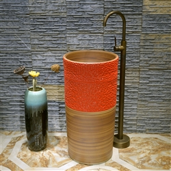 Greenville Freestanding Pedestal Cylinder Ceramic Wash Bathroom Sink with Faucet in Wooden and Orange Finish