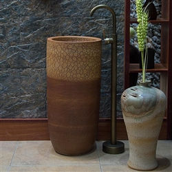 Greenville Freestanding Pedestal Cylinder Ceramic Wash Bathroom Sink with Faucet in Crackle Brown Wood Finish