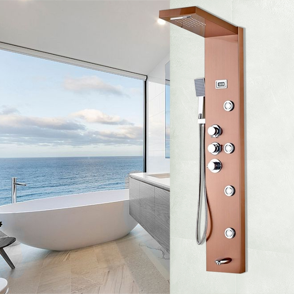 Shop Fontana Wall Mounted Gold Finish Rain-Waterfall Shower Panel At ...