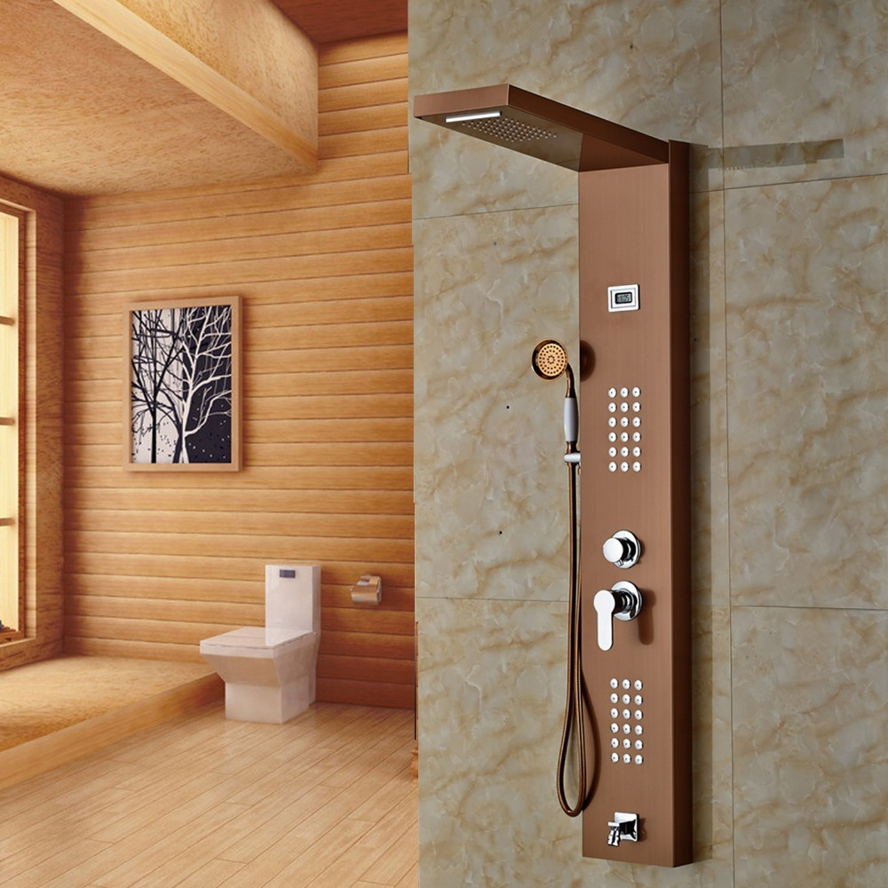 Shop Fontana Rose Gold Finished Wall Mounted Shower Panel At Bathselect
