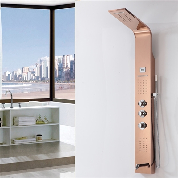 Shop Fontana Rose-Gold Stainless Steel Shower Panel At Bathselect