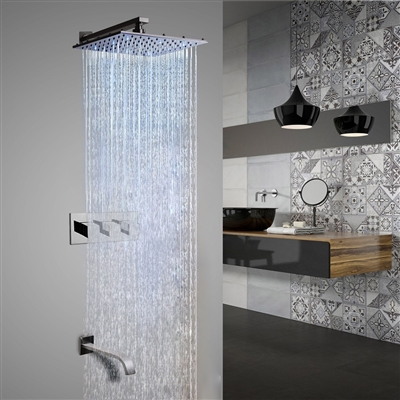 Sita Platinum LED Shower Set with Diverter, Mixer and LED spout Faucet - Available in 4 sizes