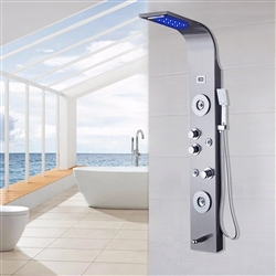 Rome 5 Function Super Luxury Shower Panel Stainless Steel Body Massage LED Rainfall Waterfall Shower Panel