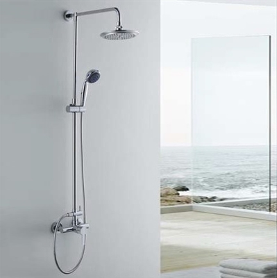 Adela Wall Mount Round Shower Set in Chrome Finish
