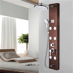 Rain showerhead, hand shower and tub spout on the Shower Massage Panel