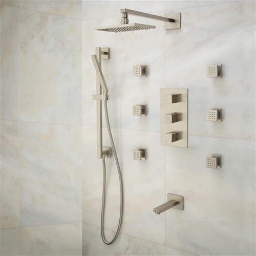 Reno Brushed Nickel Solid Brass Shower System With Adjustable Body Jets,  Thermostatic Mixer And Tub Spout