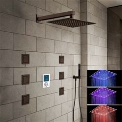 Trialo Oil Rubbed Bronze shower head multicolor led